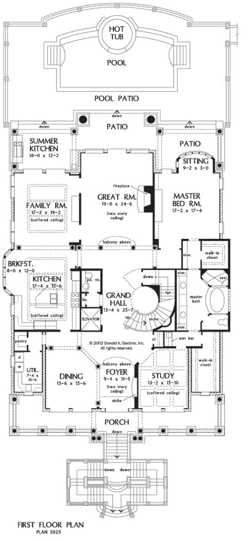 Main level floor plan of the 5-bedroom four-story The Firenze home with a coffered study, formal dining room, kitchen with breakfast nook, family room, two-story great room, primary suite, and patio with outdoor kitchen.