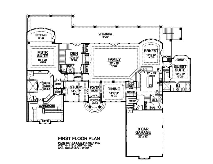 Main level floor plan of a 5-bedroom single-story The Shenandoah Home with family room, formal dining room, study, guest suite, and a primary suite with sitting area and access to the veranda.