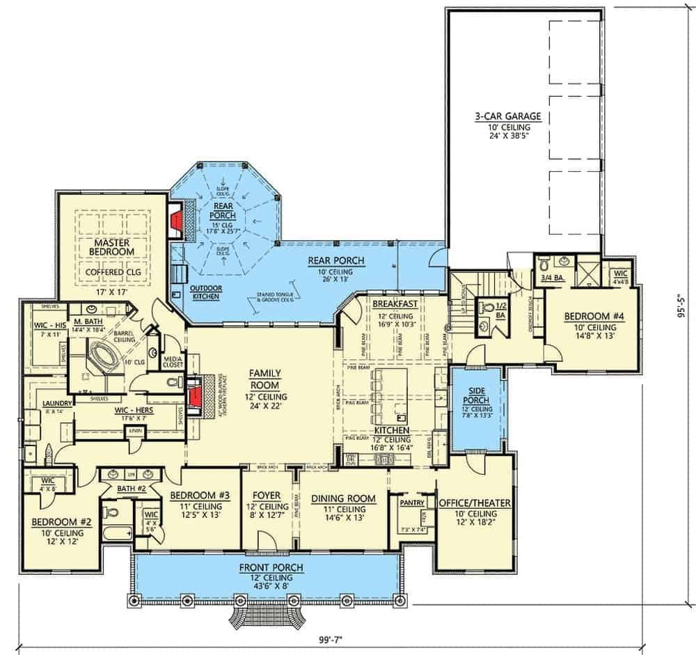 Main level floor plan of a 5-bedroom two-story Acadian home with family room, formal dining room, kitchen, breakfast nook, office/theater, 3 bedrooms, primary suite, and lots of outdoor spaces.