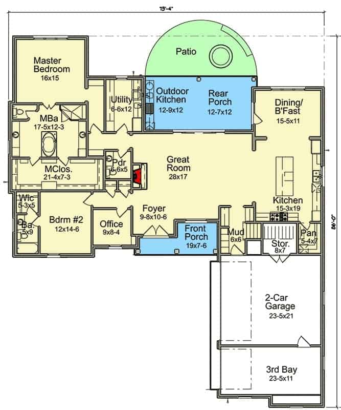 Main level floor plan of a 5-bedroom two-story Acadian home with a great room, dining room, kitchen, office, utility room, front and rear porches with outdoor kitchen, and two bedrooms including the primary suite. Second level floor plan with two additional bedrooms, a computer nook, and a future bonus room complete with a bathroom and walk-in closet. Right elevation sketch of the two-story Acadian home. Home's facade with beautiful brick cladding, decorative trims, and wooden columns supporting the front porch. The living room has a metal coffee table, a printed armchair and a gray L-shaped sectional accented with pastel pillows. The dining room offers a rectangular pendant light, white dining set, and a classy mirrored buffet topped with a sleek table lamp and abstract painting. Kitchen with white cabinetry, stainless steel appliances, and a marble top island illuminated by a beaded chandelier. The utility room is equipped with a two-door fridge, white cabinets, and front load washing machine and dryer under the marble countertop. A closeup view of the vaulted tray ceiling mounted with recessed lights and a rustic wooden beam. Primary bedroom with white walls and a barn door that opens to the primary bathroom. The primary bathroom offers a walk-in shower and a white sink vanity paired with a large mirror. The rear covered porch is filled with outdoor living, a summer kitchen, and a corner fireplace with a TV on top.