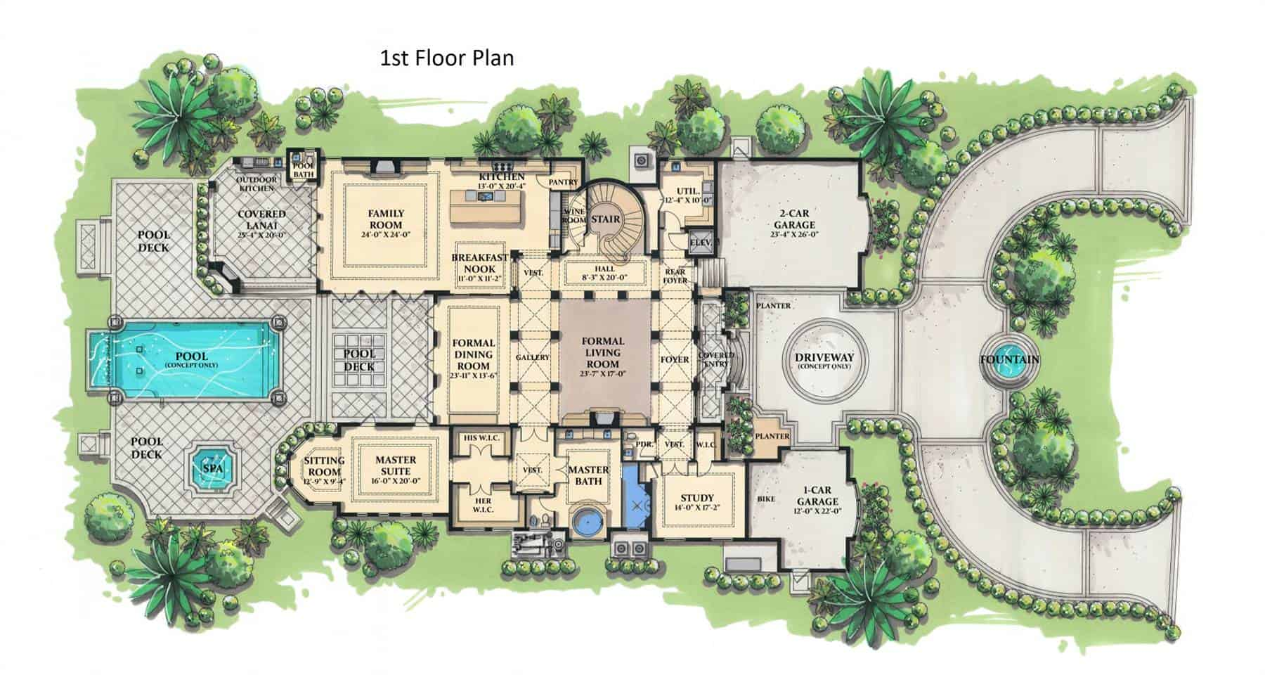 Main level floor plan of a 5-bedroom two-story grand royale Tuscan style home with a large living room, formal dining room, kitchen with breakfast nook, primary suite with a sitting room and large outdoor spaces including an outdoor kitchen, covered lanai, and pool deck.