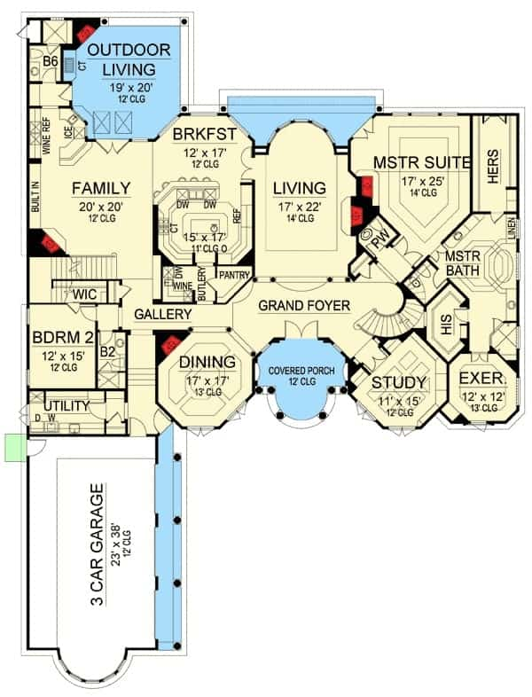 Main level floor plan of a 5-bedroom two-story Mediterranean home with grand foyer, living area, study, formal dining room, family room with access to the outdoor living, two bedrooms including the primary suite with a luxury bath, his and her walk-in closet, and a private exercise room.