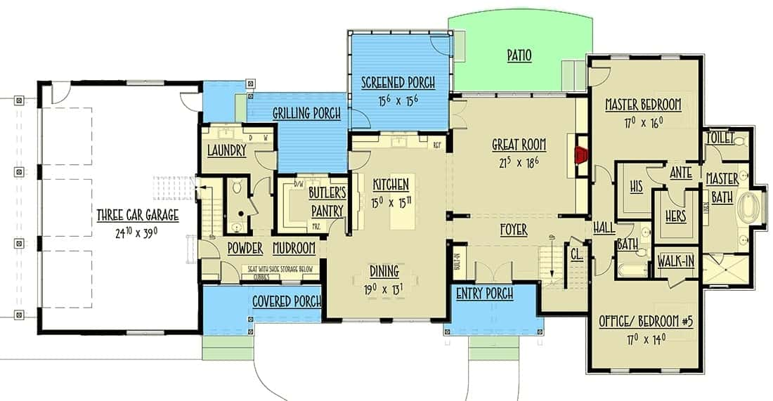 Main level floor plan of a 5-bedroom two-story modern farmhouse with a dining area, kitchen, with access to the grilling porch, primary suite, office that doubles as a bedroom, great room with access to the screened porch, laundry area, and mudroom that leads to the three-car garage.