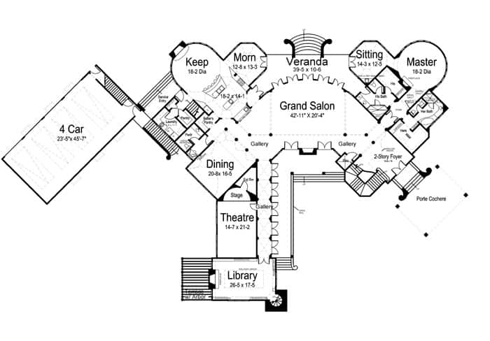 Main level floor plan of a 6-bedroom two-story Chateau Novella with a grand salon, formal dining room, library, keeping room, primary suite with a sitting room, and a home theater with a stage.
