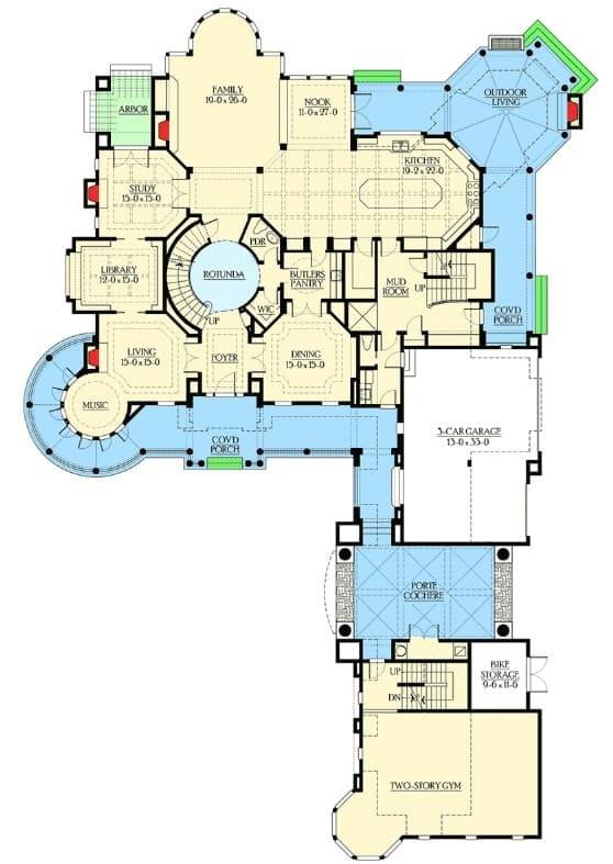 Main level floor plan of a multi-story luxury home with a grand rotunda in the middle, plenty of outdoor living spaces, a grand formal living room, and equipped with service spaces.