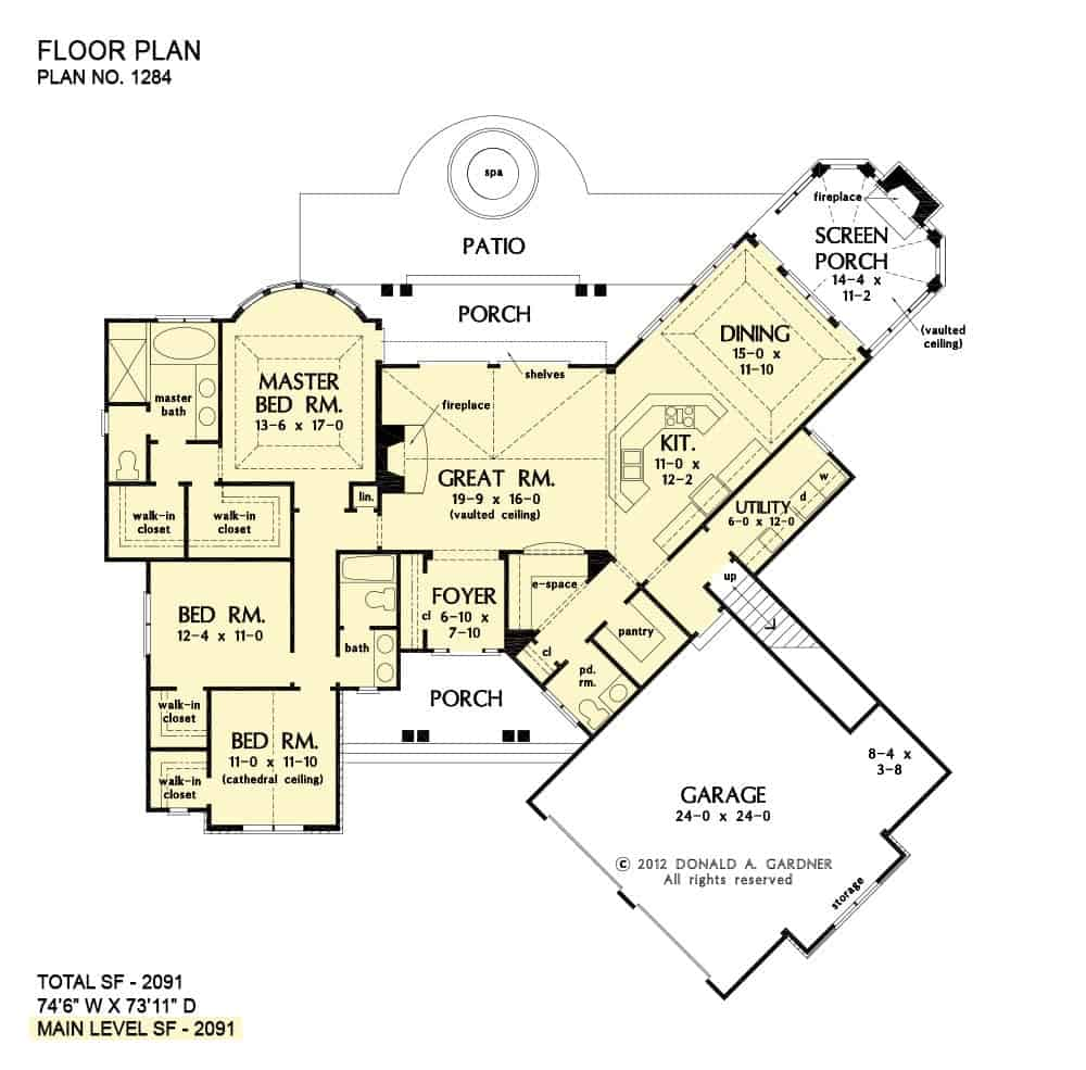 Main level floor plan of a single-story 3-bedroom The Champlain home with vaulted great room, kitchen, dining with access to the screened and rear porches, two bedrooms, and a primary suite with bay windows and separate walk-in closets.