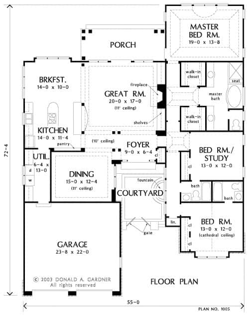Main level floor plan of a single-story 3-bedroom The Provence home with a formal dining room, kitchen, breakfast nook, great room with access to the porch, courtyard with fountain feature, and three bedrooms including the primary suite and a flexible study that doubles as a bedroom.