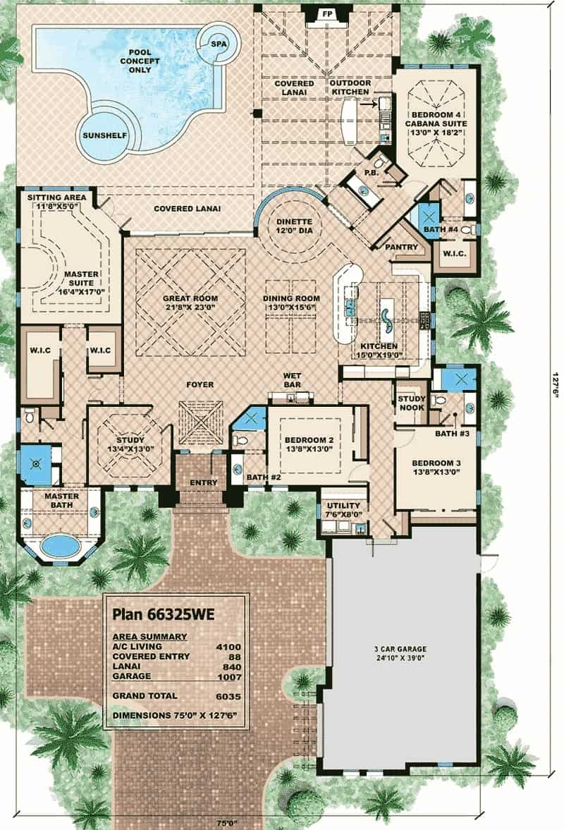 Entire floor plan of the single-story 4-bedroom Mediterranean home with a great room, dining room, study, and four bedrooms where bedroom 4 and the primary suite have access to the covered lanai.