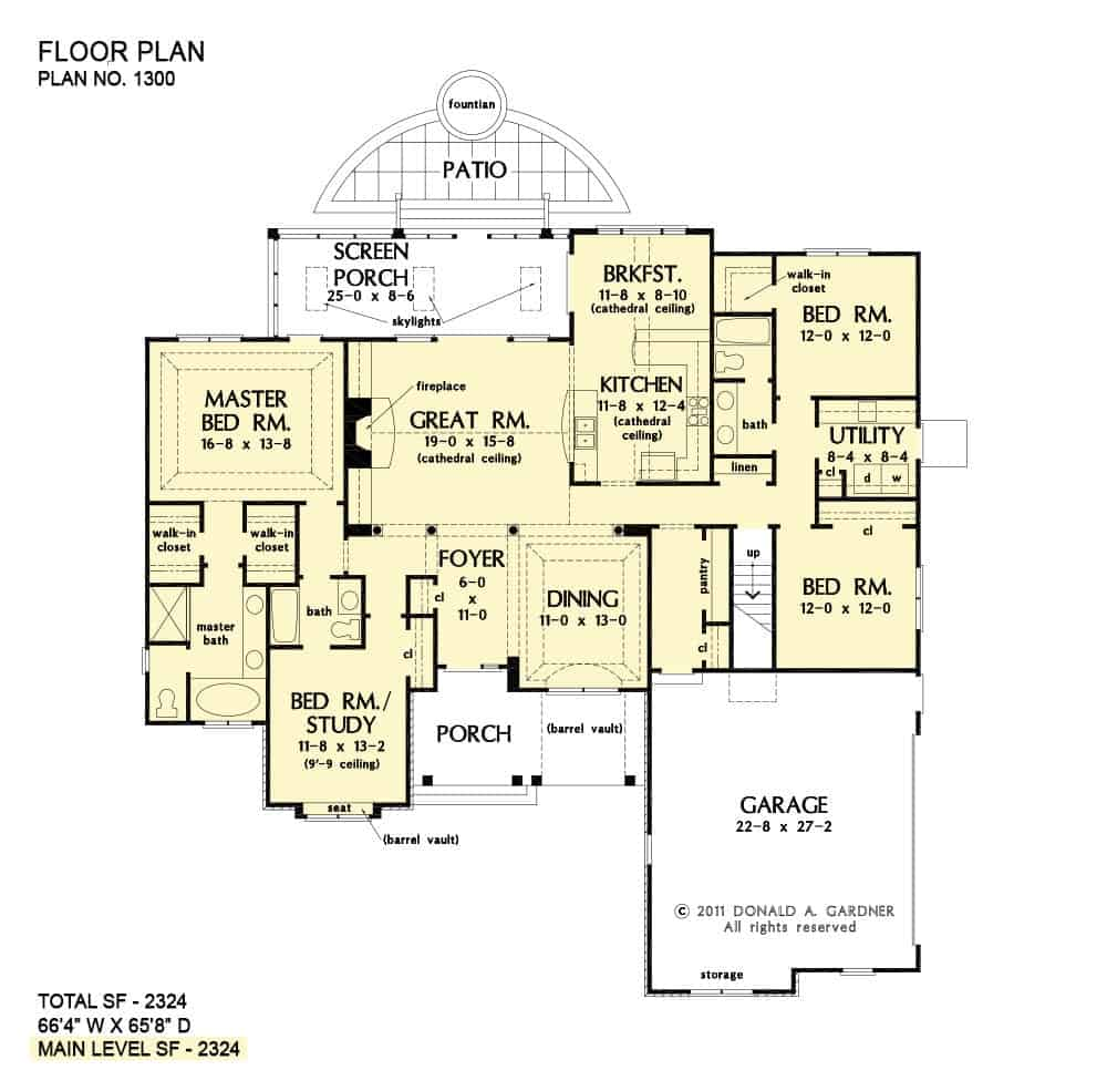 Main level floor plan of a single-story 4-bedroom The Lennon Home with a formal dining room, great room with access to the screened porch, kitchen, three bedrooms including the primary suite, and a study that doubles as another bedroom.