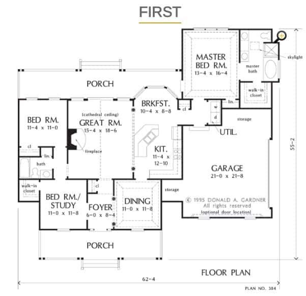 Main level floor plan with front and back porches, three bedrooms, and a great room with cathedral ceiling.