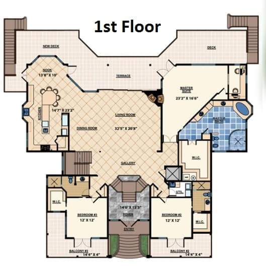 Main level floor plan of a three-story 3-bedroom The Ocean Dream House with living room, dining room, kitchen, two bedrooms, and a primary suite that has direct access to the terrace and deck.