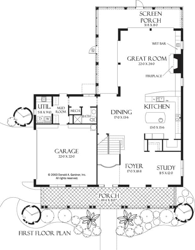 Main level floor plan of a three-story 4-bedroom The Palm Vista with foyer, study, shared dining and kitchen, and a great room with direct access to the screened porch.