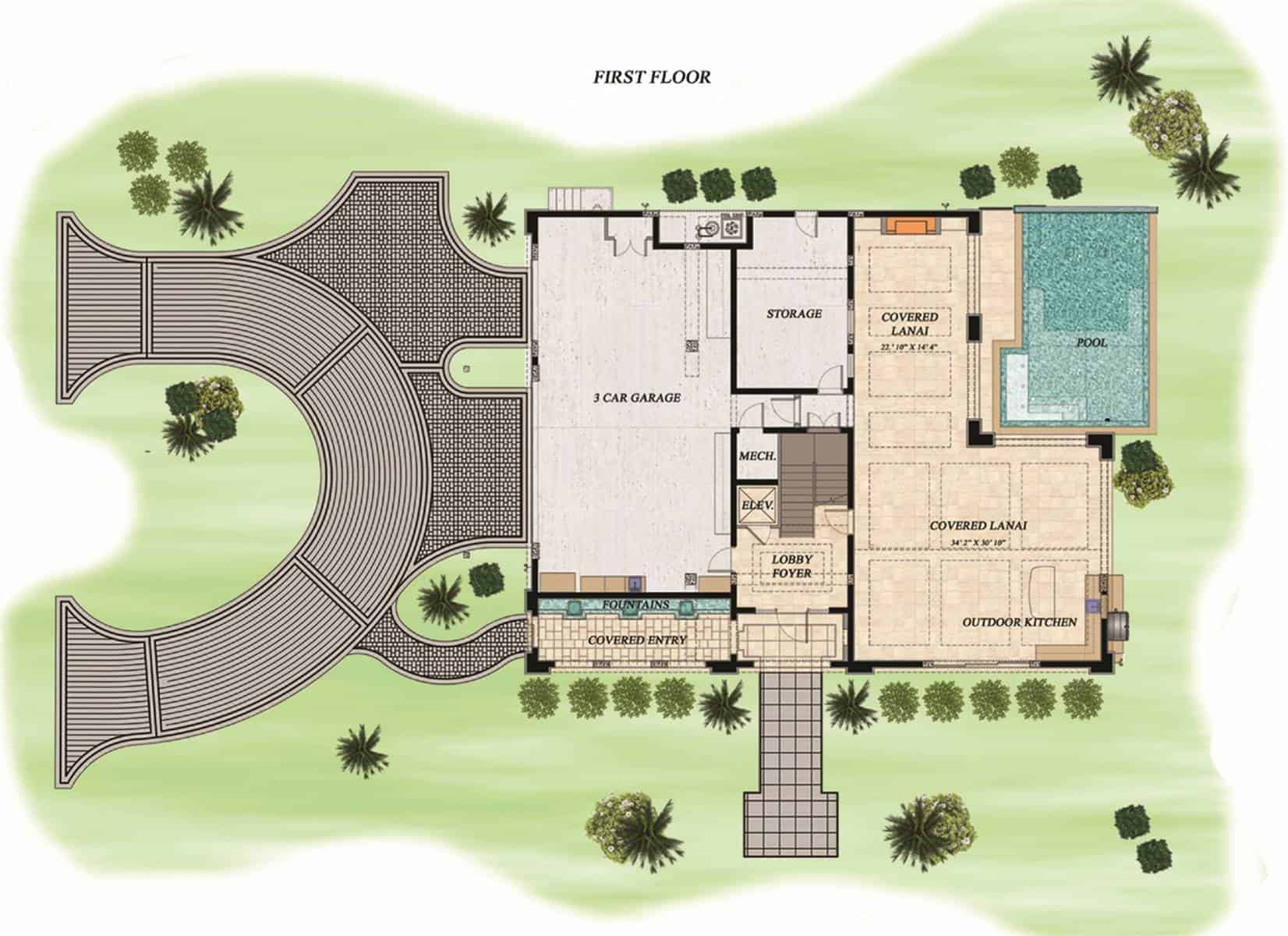 Main level floor plan of a three-story 4-bedroom west winds beach style home with 3-car garage, large storage room, lobby foyer, outdoor kitchen, and covered lanais by the pool.
