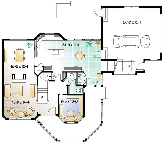 Main level floor plan of a two-story 3-bedroom Victorian Home with a covered front porch, a living room, dining area, and a private den with a large bay window.
