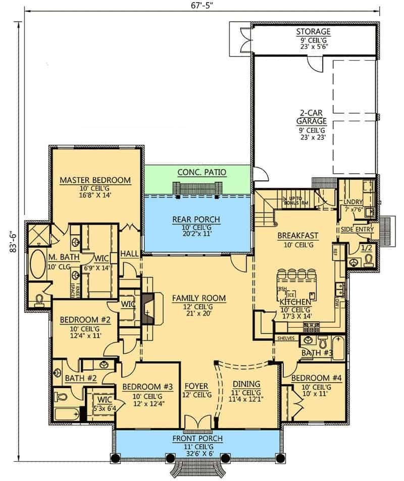 Main level floor plan of a two-story 4-bedroom Acadian home with a family room, formal dining room, kitchen, laundry room, four bedrooms including the primary suite, and front and rear porches.