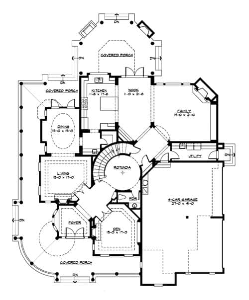 Main level floor plan of a two-story 4-bedroom Astoria home with 4-car garage, a den, family room, living room, kitchen with breakfast nook and formal dining room with access to the covered porch.
