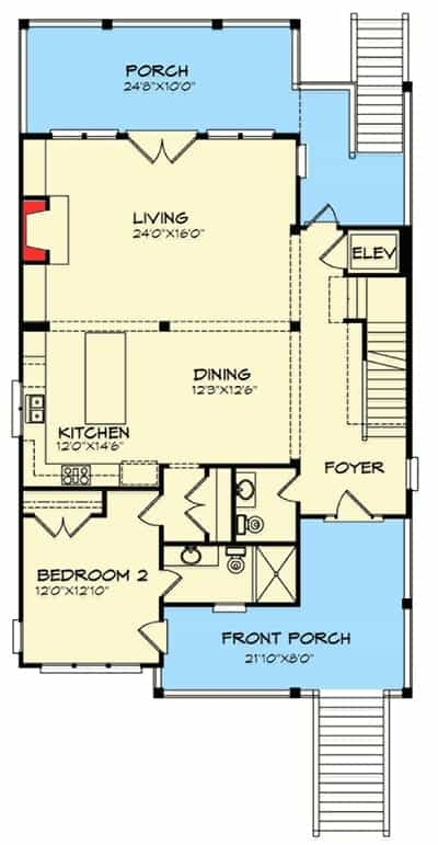 Main level floor plan of a two-story 4-bedroom beach-style home with a foyer, bedroom with bath and closet, shared kitchen and dining, and a spacious living room with access to the rear porch.