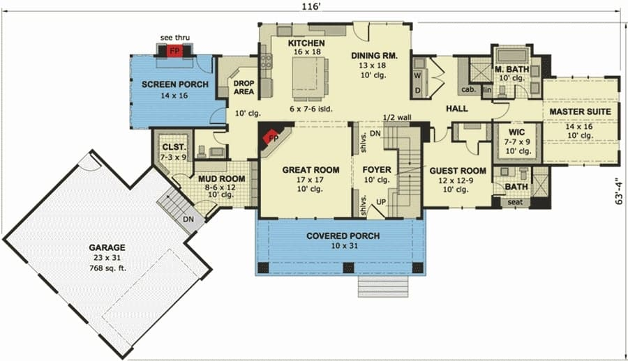 Main level floor plan of a two-story 4-bedroom cape cod home with a great room, primary suite, guest room, screened porch, a large mud room with a giant walk-in closet, and an angled garage.