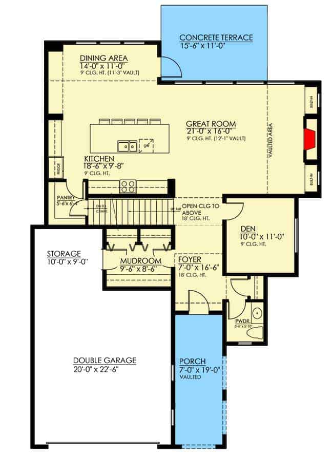 Main level floor plan of a two-story 4-bedroom craftsman home with a spacious great room and kitchen, a quiet den, mudroom with dual access to the foyer and double garage, and a concrete terrace accessible through the dining area.