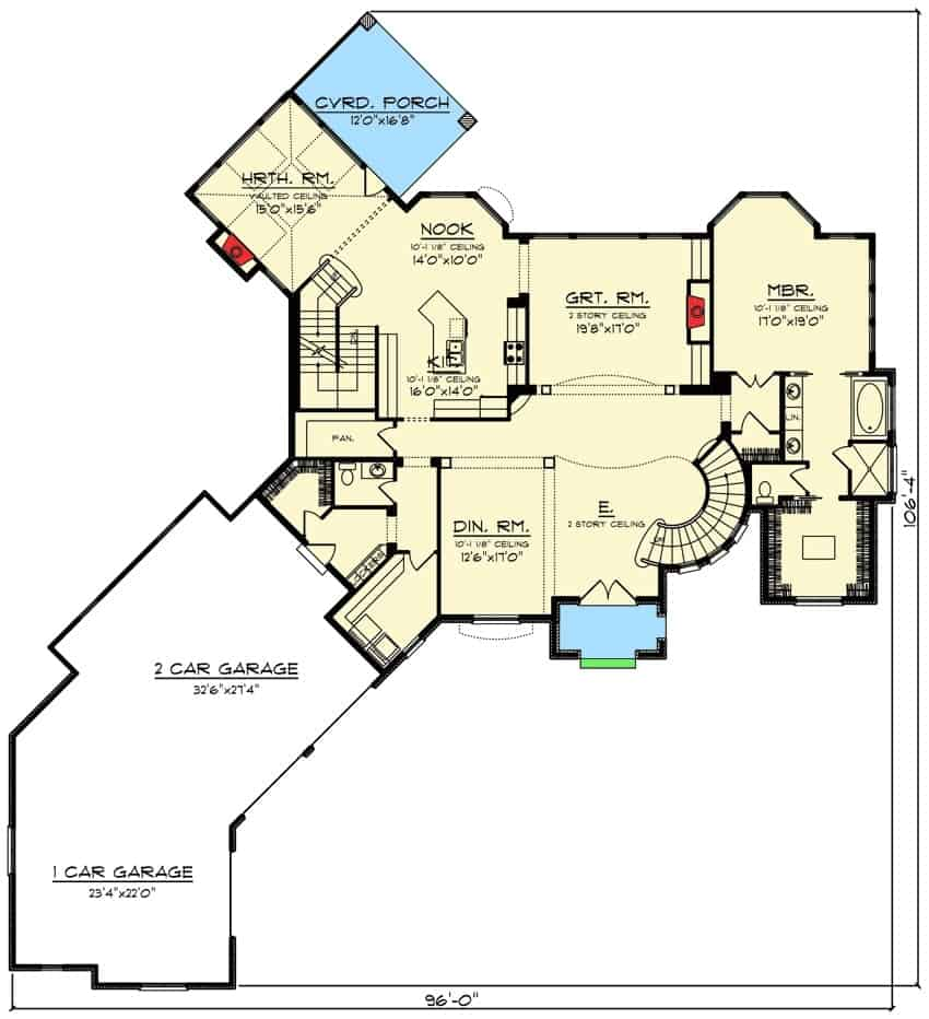 Main level floor plan with two-story 4-bedroom European-style home with an angled garage, formal dining room, kitchen, breakfast nook, great room, primary suite, and a hearth room with access to the covered porch.