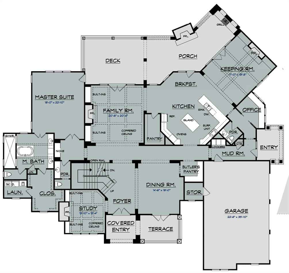 Main level floor plan of a two-story 4-bedroom Ford Creek Home with formal dining room, butlery, study, family room, home office, and spacious kitchen with walk-pantry and a breakfast room.