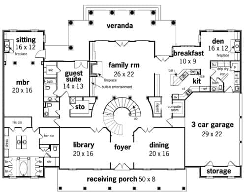 Main level floor plan of a two-story 4-bedroom Magnolia Place with family room, library, den, kitchen with nook, guest suite, and primary bedroom with a sitting area and direct access to the expansive veranda.