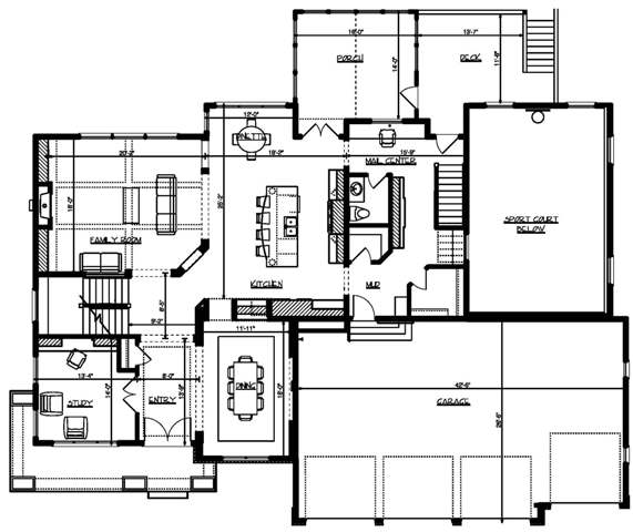Main level floor plan of a two-story 5-bedroom Pinehurst home with a living room, kitchen, formal dining room, family room, and a quiet study.