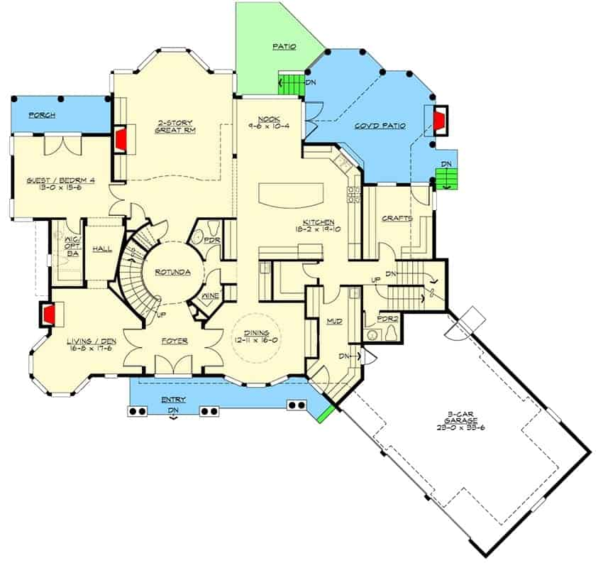 Main level floor plan of a two-story 4-bedroom shingle style home with formal dining room, den, two-story great room, kitchen with breakfast nook and a guest bedroom with its own walk-in closet and private balcony.