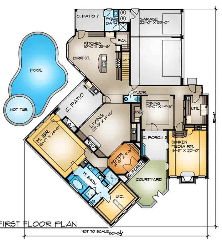 Main level floor plan of the two-story 4-bedroom the Cariati home with primary suite, kitchen, formal dining room, sunken media room, and living room that opens to the covered patio and the pool area.