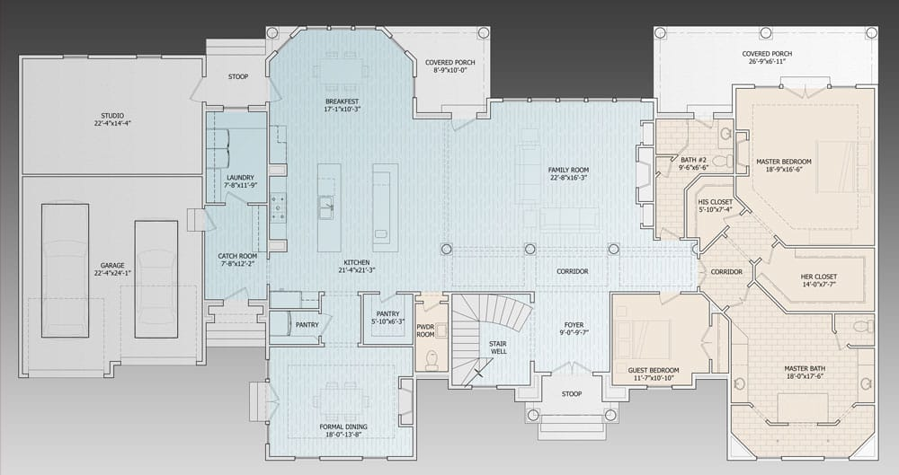 Main level floor plan of a two-story 5-bedroom Elizabeth Court luxury home with family room, kitchen, breakfast nook, walk-in pantries, formal dining room, catch room, laundry room, studio, guest bedroom, and a primary suite with direct access to the covered porch.