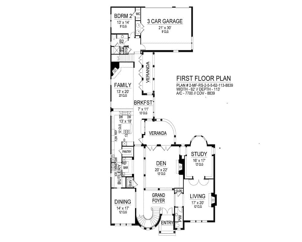 Main level floor plan if a two-story 5-bedroom Hollywood Hills European home with a grand foyer, formal dining room, living room, study, den with access to the veranda, butlery, and a bedroom next to the 3-car garage.
