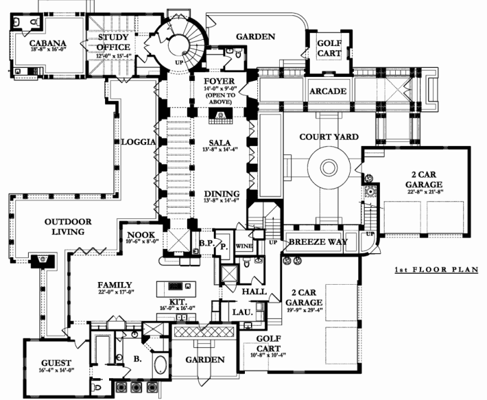 Main level floor plan of a two-story 5-bedroom Mediterranean home with a breezeway, courtyard, arcade, guest suite, study, and family room with direct access to the outdoor living.