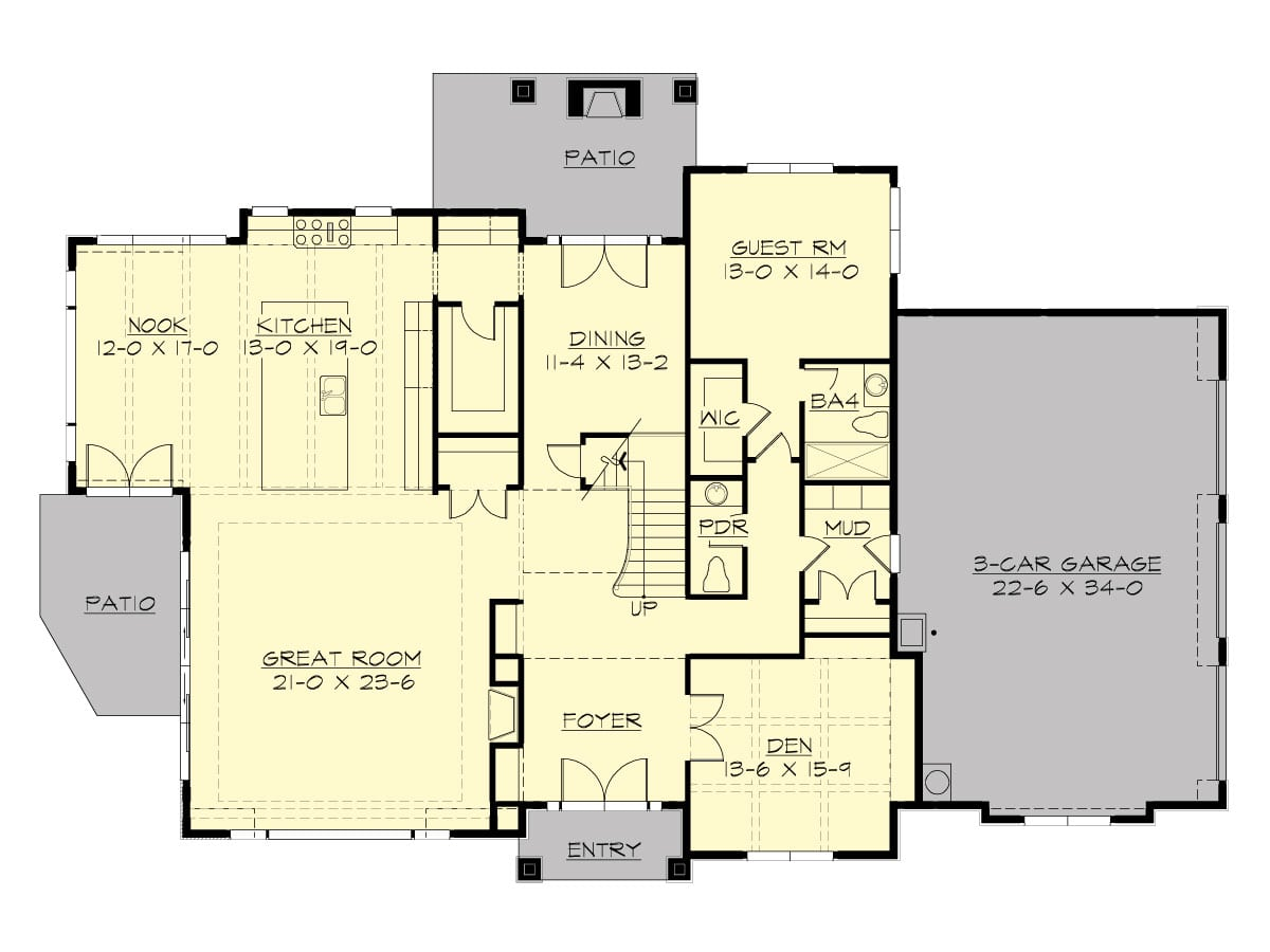 Main level floor plan of a two-story 5-bedroom Meydenbauer home with a den, spacious great room, guest, suite, formal dining, and kitchen with access to the patio.