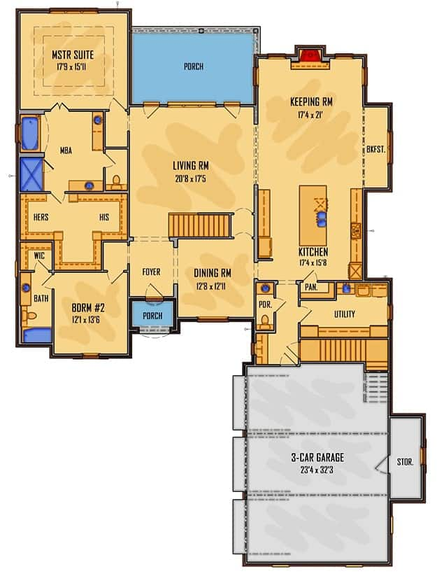 Main level floor plan of a two-story 5- bedroom Southern home with dining room, living porch, keeping room, kitchen, utility, front and rear porches, two bedrooms including the primary suite and a 3-car garage with storage room.