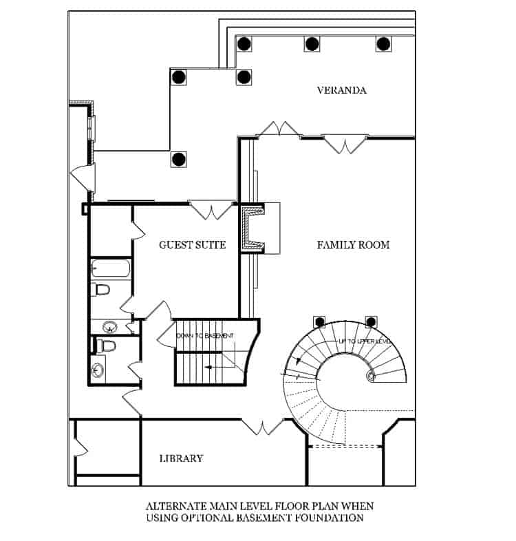 Alternate main level floor plan when using optional basement foundation with guest suite, library, and family room with fireplace.