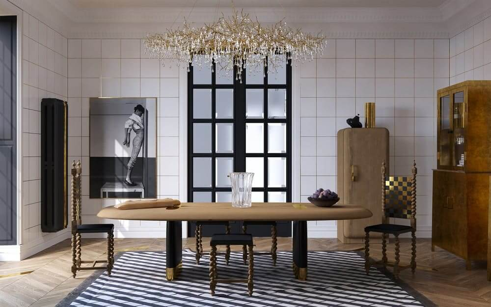 This dining room has a white ceiling that matches with the white walls. These walls are accented with golden details in a checkered pattern.