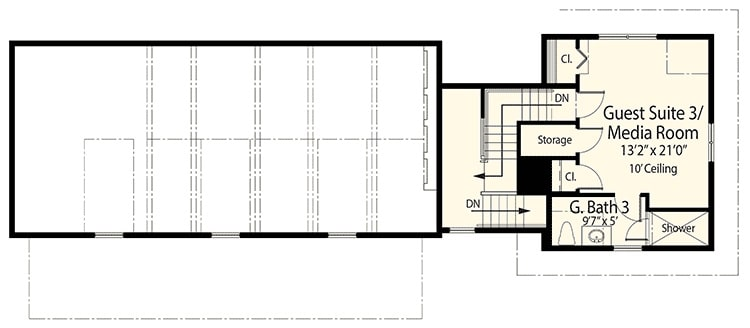 Optional apartment floor plan with another guest bedroom or media room, storage room, closets, and a bathroom with a separate shower.
