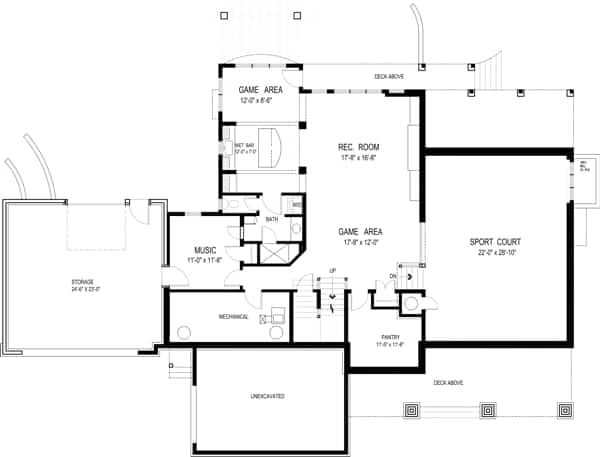 Optional basement floor plan with a music room, rec room, game room, and a large sport court.