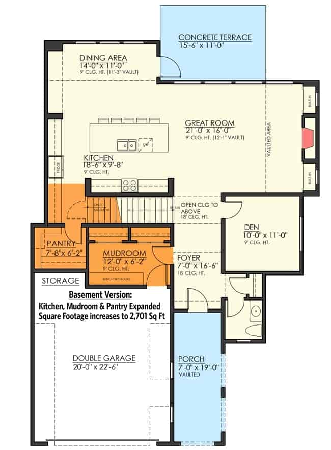 Main level floor plan of a two-story 4-bedroom craftsman home with an optional basement.