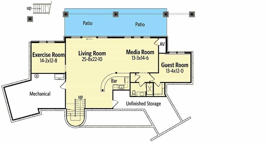 Optional Lower level floor plan with an exercise room, guest room, media room, and a living room with a wet bar.