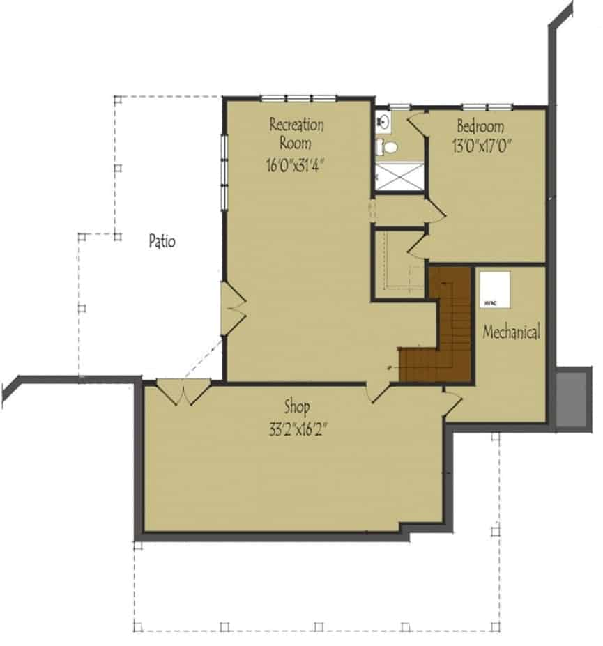 Optional lower level floor plan with a bedroom, recreation room, and a shop.