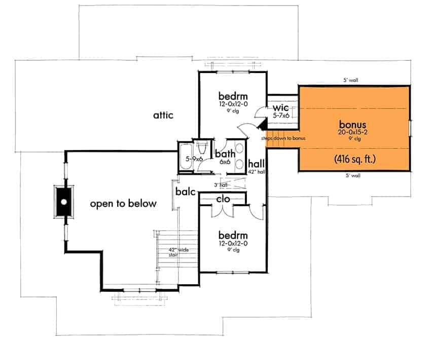 Second level floor plan of a 3-bedroom two-story modern farmhouse including bonus room over the garage.