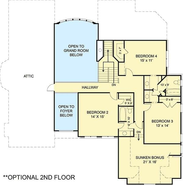 Optional second level floor plan with three bedrooms and a spacious sunken bonus room.