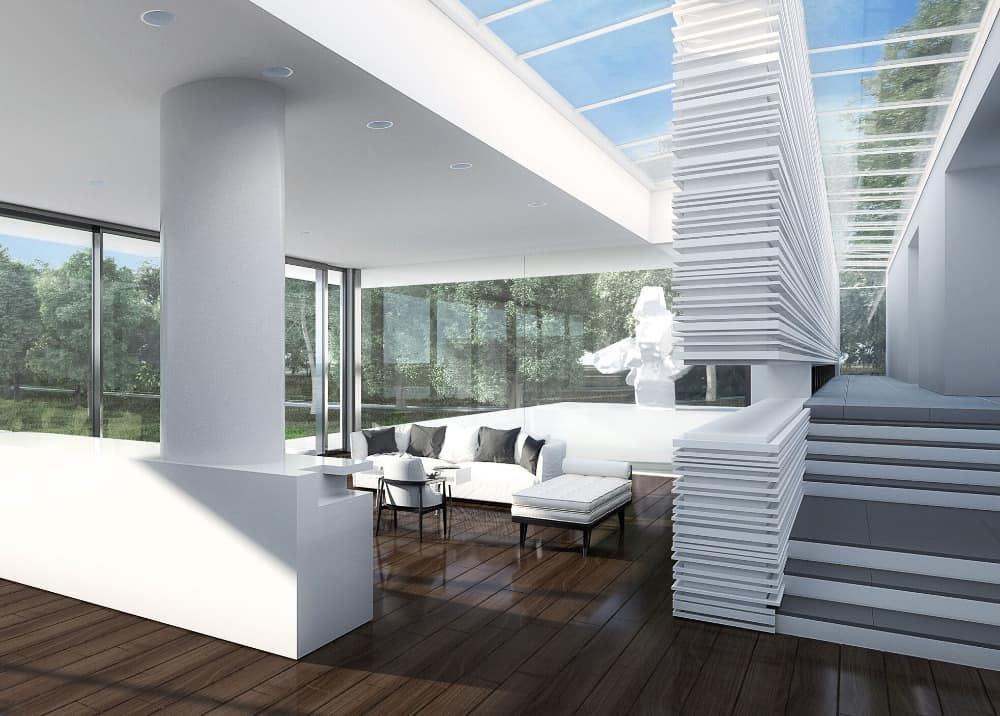 Large living space featuring a white sofa set matching the white walls and ceiling of the house. Images courtesy of Toptenrealestatedeals.com.