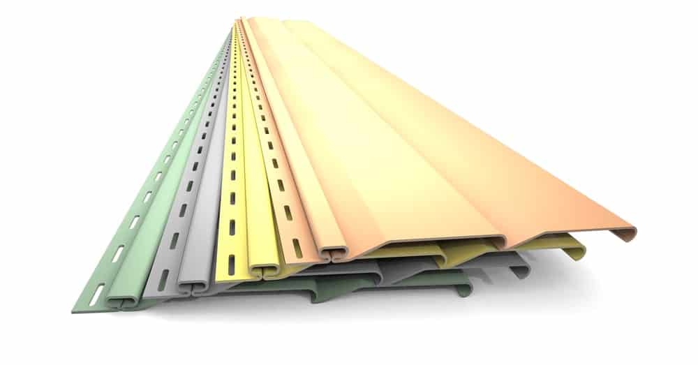 Plastic siding panels in different colors.