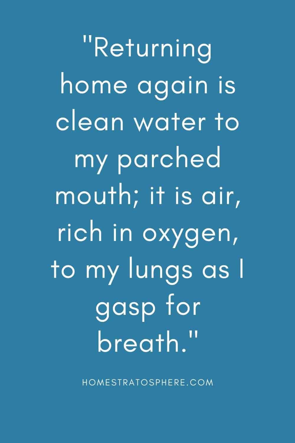 """""""Returning home again is clean water to my parched mouth; it is air, rich in oxygen, to my lungs as I gasp for breath."""""""
