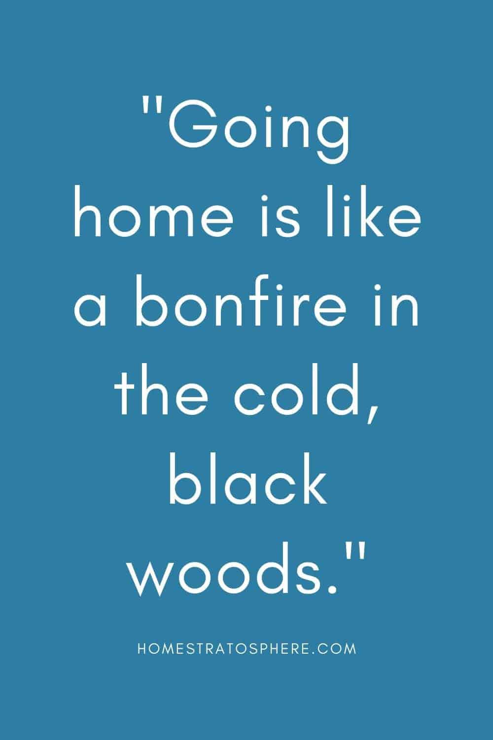 """""""Going home is like a bonfire in the cold, black woods."""""""