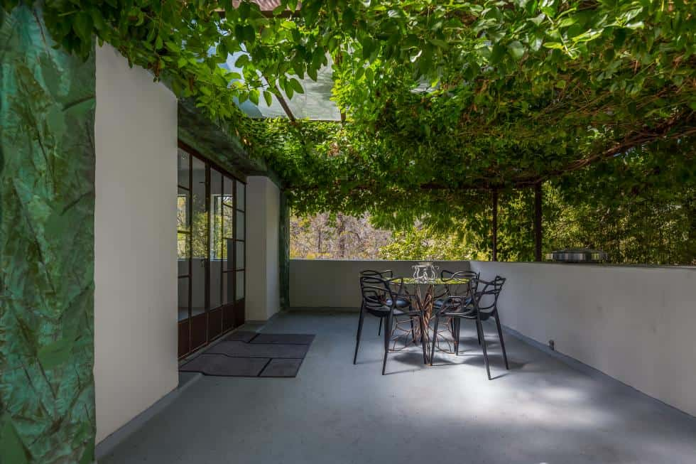 This is a beautiful covered patio just outside the glass doors with a wide area underneath the shade of a blanket of creeping plants. Images courtesy of Toptenrealestatedeals.com.