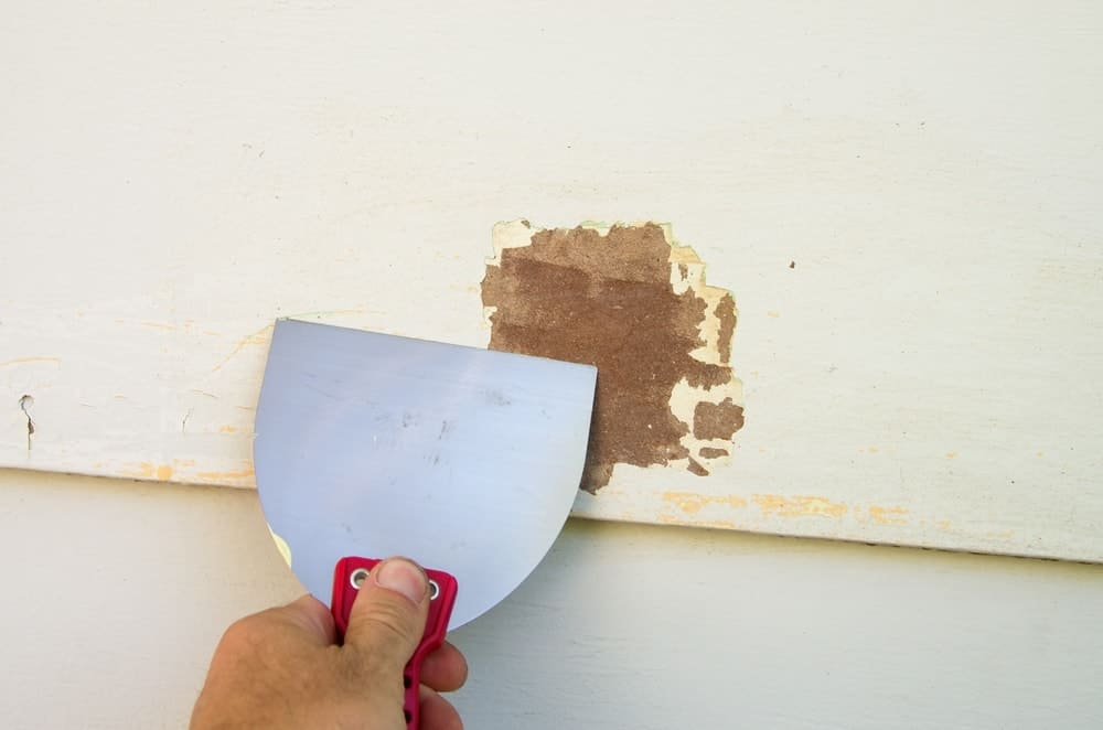 Scraping old paint off a siding.