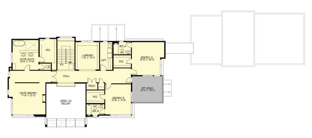 Second level floor plan with a library, primary suite, and two additional bedrooms with its own bathrooms and closets.